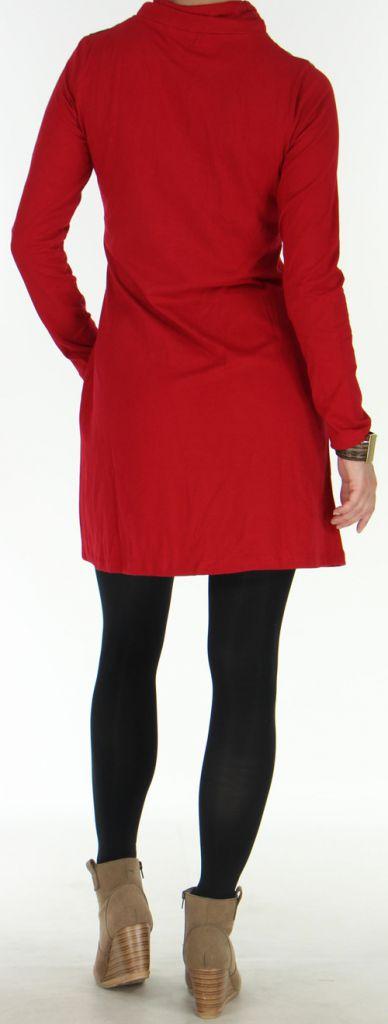 Robe courte à manches longues Originale et Ethnique Naveen Rouge 275940
