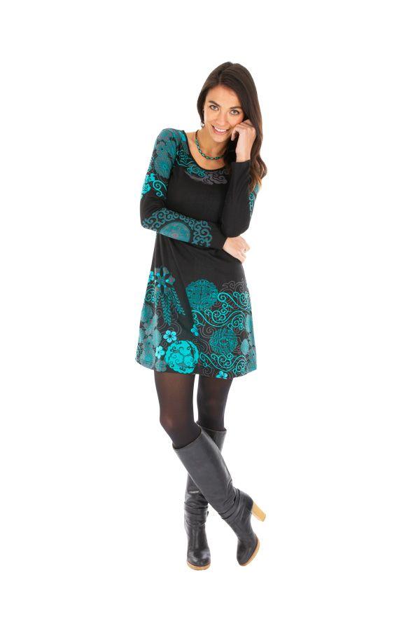 Robe courte à manches longues originale et imprimée Olga 312632