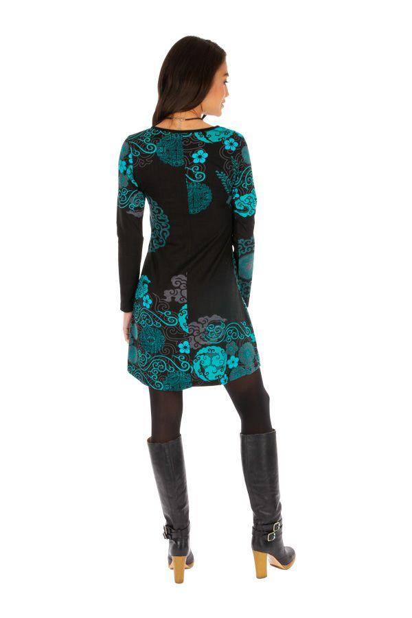 Robe courte à manches longues originale et imprimée Olga 312633
