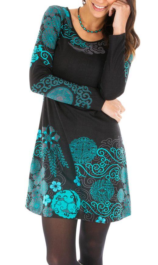 Robe courte à manches longues originale et imprimée Olga 312634