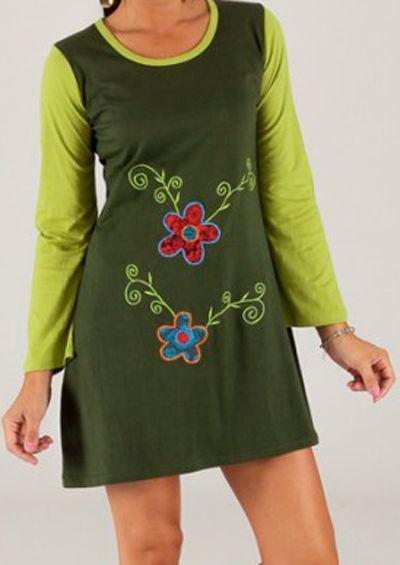 Robe courte à manches longues Originale et Imprimée Zlata Verte 279669