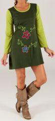 Robe courte à manches longues Originale et Imprimée Zlata Verte 279670