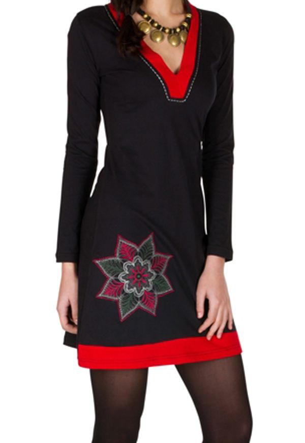 Robe courte à manches longues Rouge féminine avec col en V Alida 301073