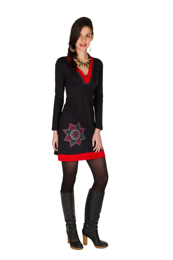 Robe courte à manches longues Rouge féminine avec col en V Alida 301074