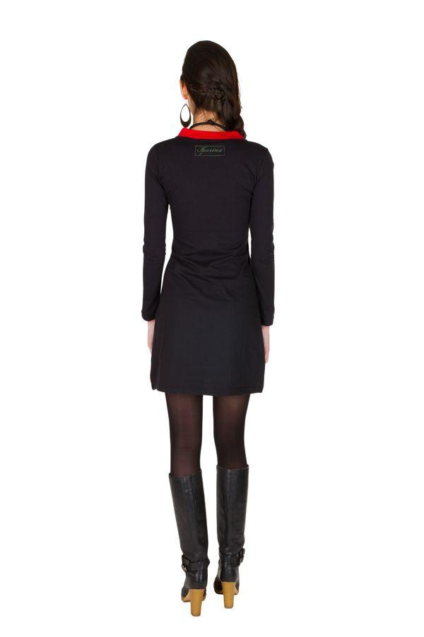 Robe courte à manches longues Rouge féminine avec col en V Alida 301076