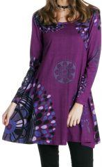 Robe courte à mandalas Gaie et Ethnique Suraya Violette 286643