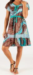 Robe courte à petites manches Originale et Légère Galice Turquoise 279447