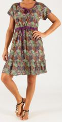 Robe courte à petites manches Originale et Légère Galice Violette 279446