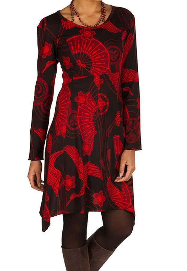 Robe courte asymétrique avec imprimés asiatiques Rouge Arzela 301057