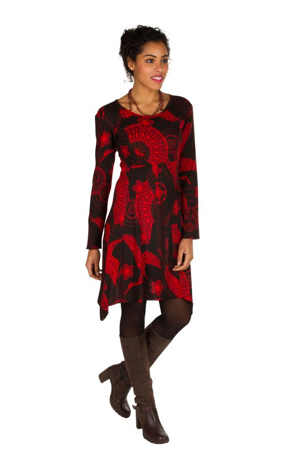 Robe courte asymétrique avec imprimés asiatiques Rouge Arzela 301058
