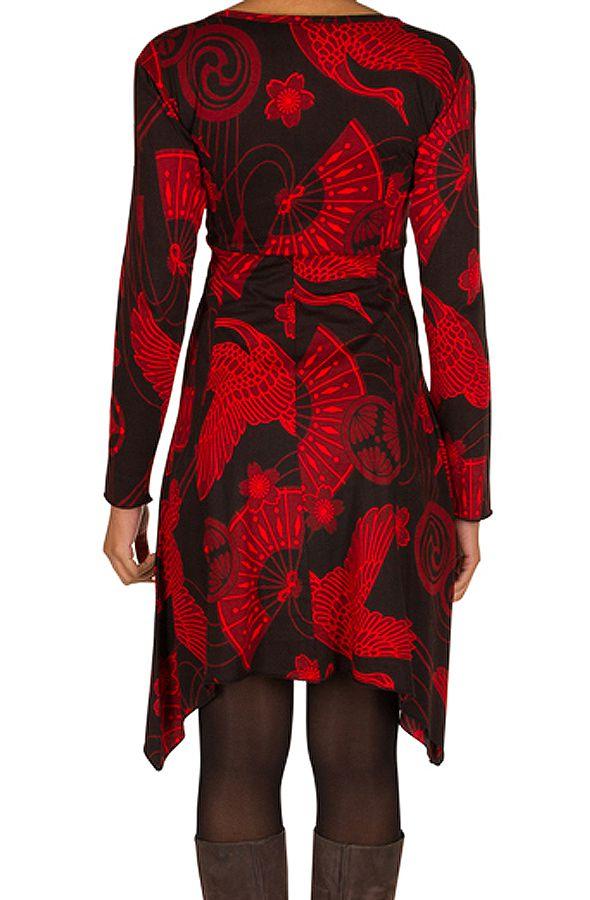 Robe courte asymétrique avec imprimés asiatiques Rouge Arzela 301063