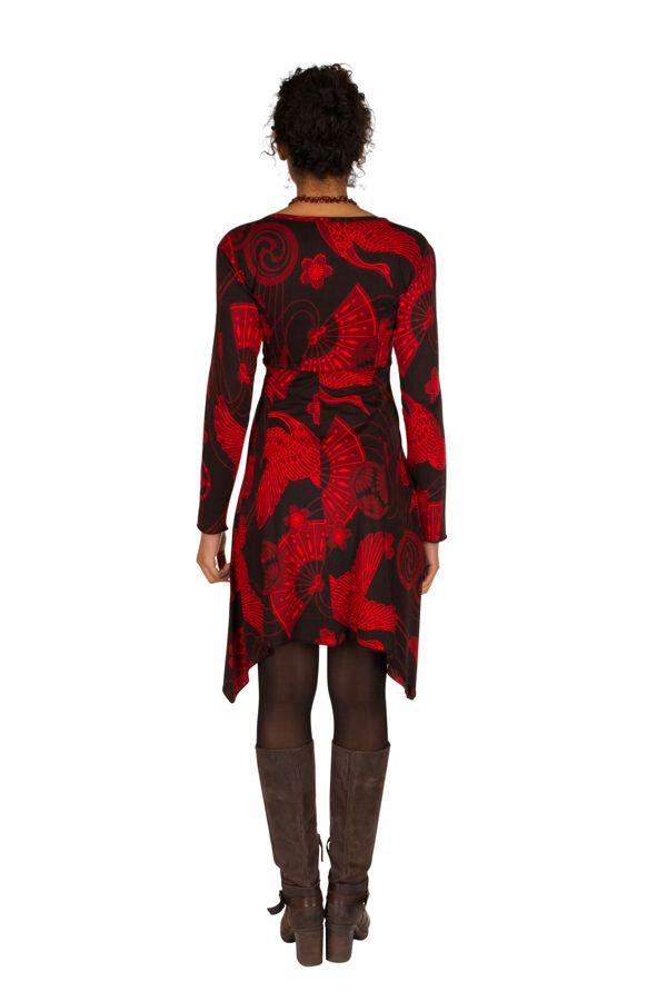 Robe courte asymétrique avec imprimés asiatiques Rouge Arzela 301064