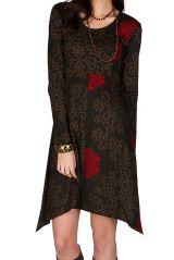 Robe courte asymétrique avec imprimés fantaisies Chocolat Pepita 301123