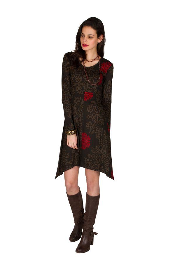 Robe courte asymétrique avec imprimés fantaisies Chocolat Pepita 301124