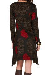 Robe courte asymétrique avec imprimés fantaisies Chocolat Pepita 301125