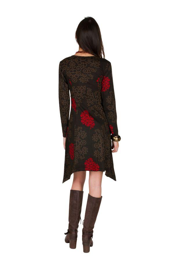Robe courte asymétrique avec imprimés fantaisies Chocolat Pepita 301131