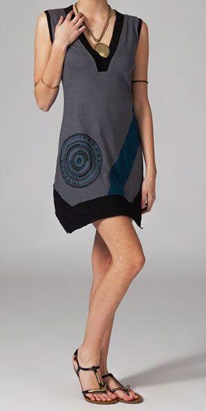 Robe courte asymétrique grise Tabara 269026