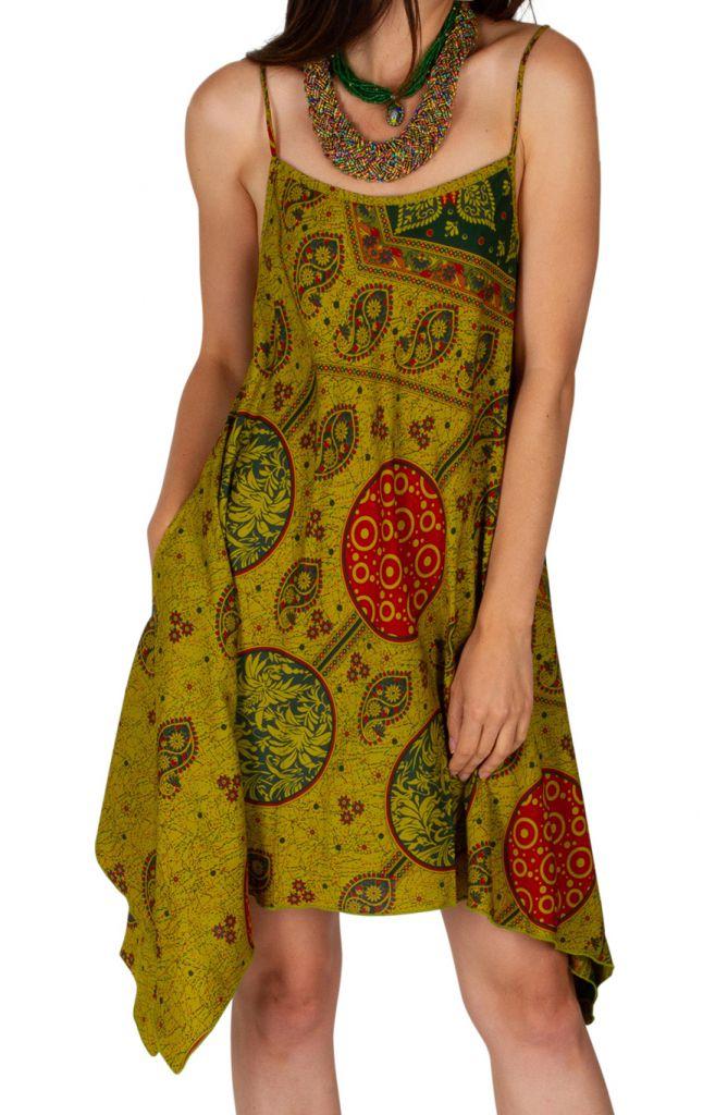 Robe courte asymétrique look boho chic à fines bretelles Sia 307022