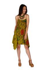 Robe courte asymétrique look boho chic à fines bretelles Sia 307023