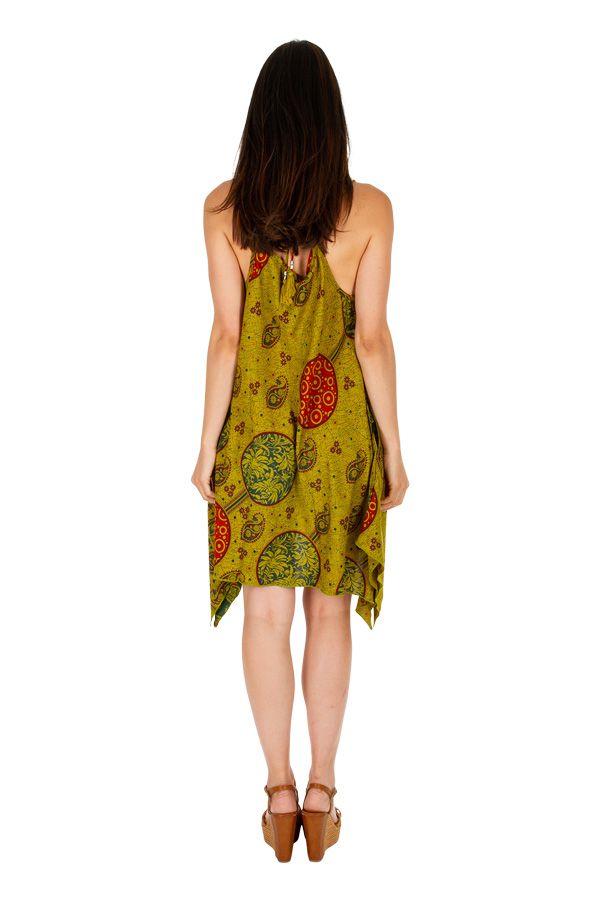 Robe courte asymétrique look boho chic à fines bretelles Sia 307024