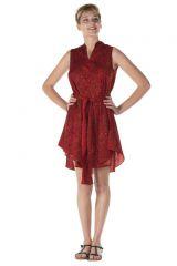 robe courte asymétrique sans manche ethnique Ilyana 288217