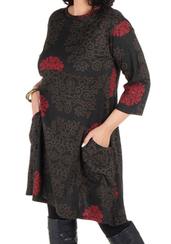 Robe courte automne marron, rouge, et noire Weii 301350