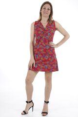 Robe courte aux jolis imprimés et décolleté féminin Andréa 310915