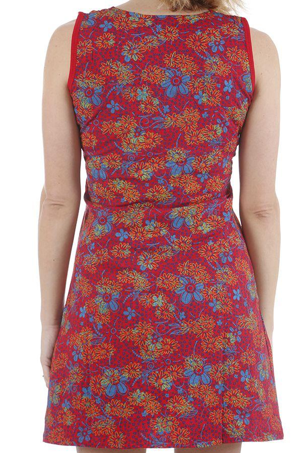 Robe courte aux jolis imprimés et décolleté féminin Andréa 310916