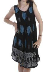 Robe courte avec imprimé plume en viscose noire Arielle 296661