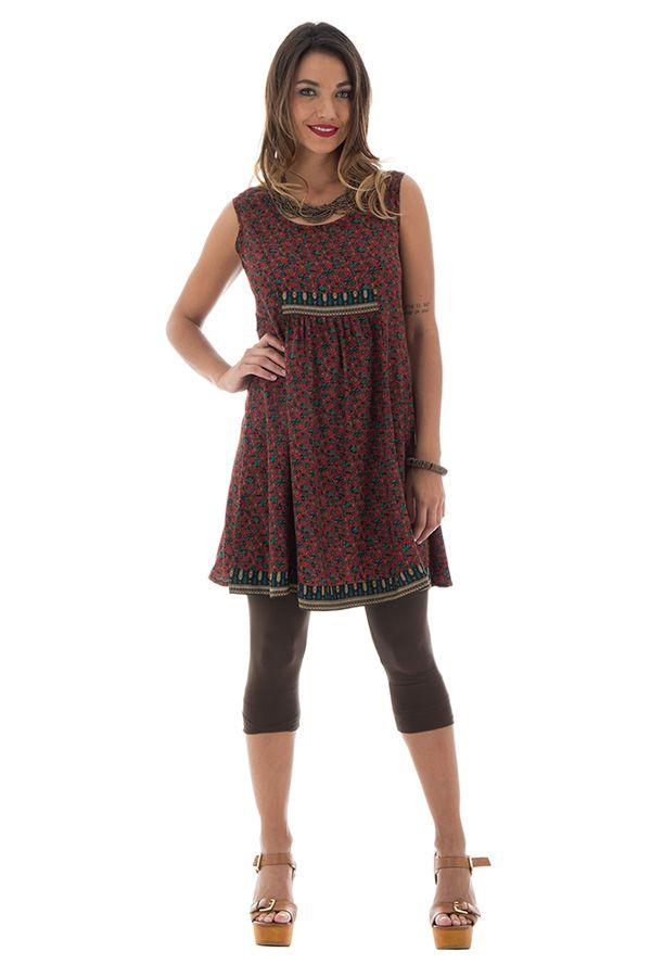 robe courte avec imprimés ethniques et col rond Nikolina 289882