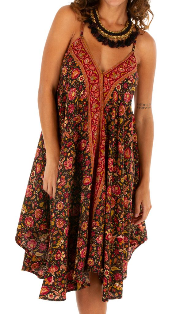 Robe courte avec un imprimé floral pour un style bohème Leora 306321