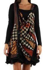 Robe courte avec un imprimé graphique original Tina Marron 302749