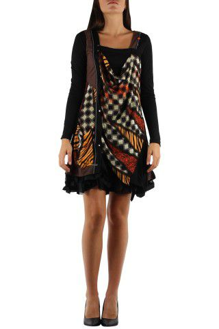 Robe courte avec un imprimé graphique original Tina Marron 302750