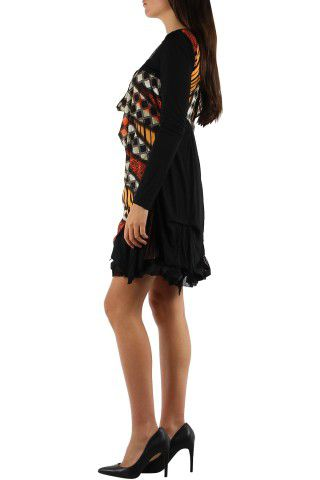 Robe courte avec un imprimé graphique original Tina Marron 302751