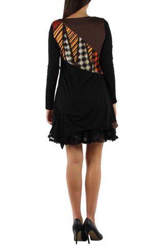 Robe courte avec un imprimé graphique original Tina Marron 302752
