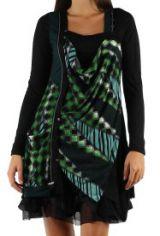 robe courte avec un imprimé graphique original Tina Vert 302745