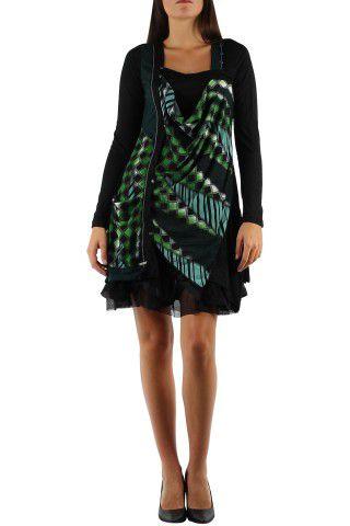 robe courte avec un imprimé graphique original Tina Vert 302746