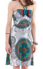 Robe courte Blanche à dos nu Ethnique et Colorée Oriane 281306