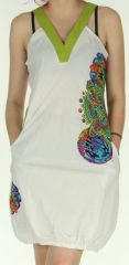 Robe courte Blanche d'été Ethnique et forme Boule Madurai 279597