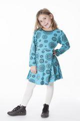 Robe courte bleue à col rond pour enfant en coton 286384