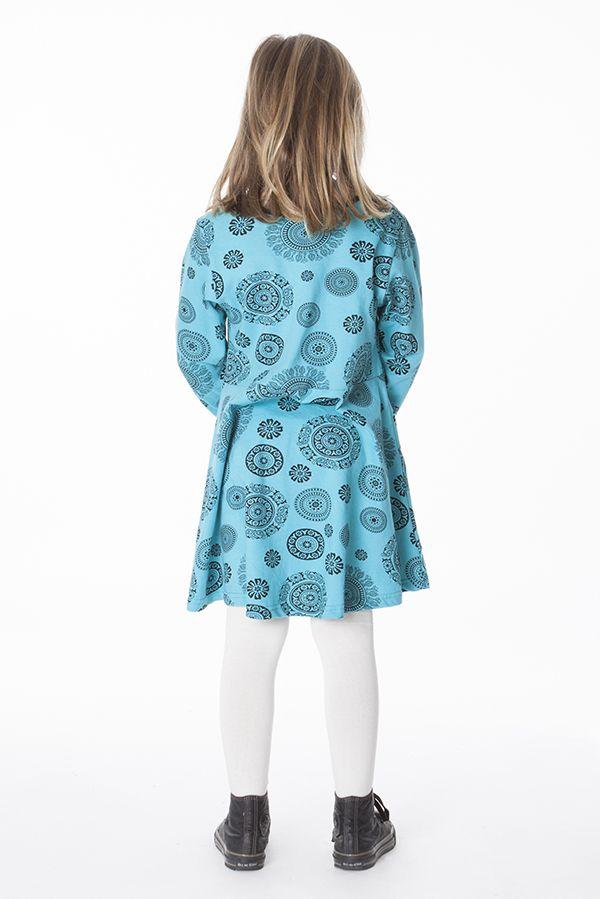 Robe courte bleue à col rond pour enfant en coton 286385