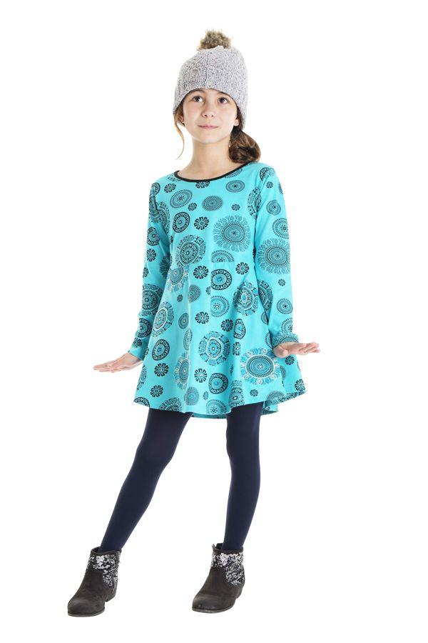 Robe courte bleue à col rond pour enfant en coton 302194