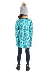 Robe courte bleue à col rond pour enfant en coton 302195