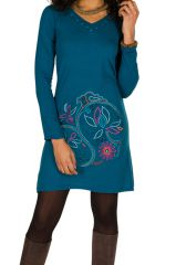 Robe courte Bleue à manches longues avec broderie ethnique Lorel 298914