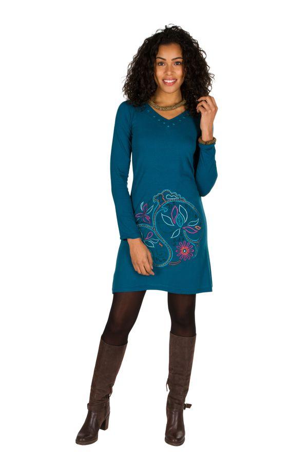 Robe courte Bleue à manches longues avec broderie ethnique Lorel 298916