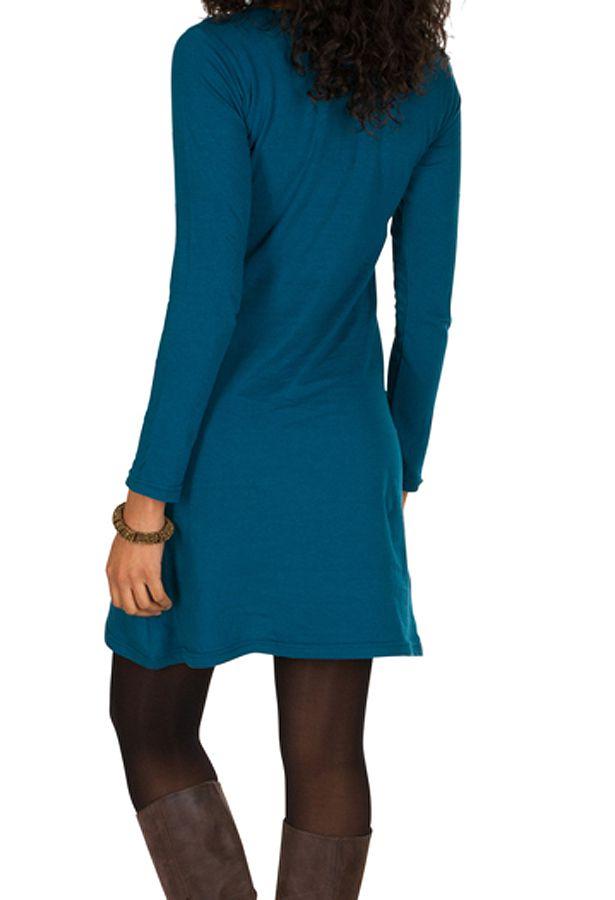 Robe courte Bleue à manches longues avec broderie ethnique Lorel 298917