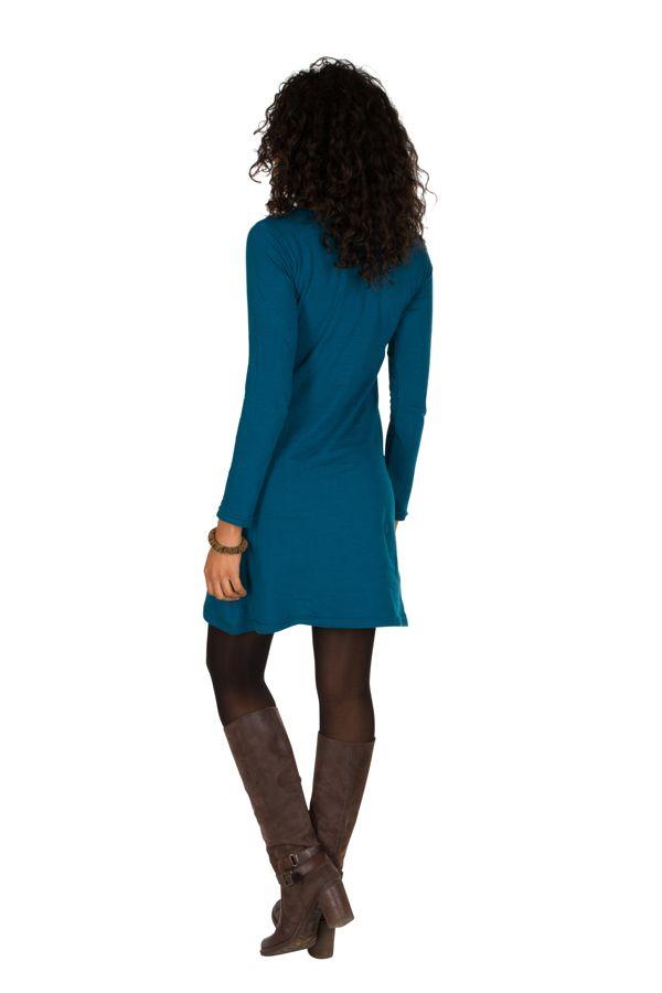Robe courte Bleue à manches longues avec broderie ethnique Lorel 298918