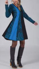 Robe courte bleue à manches longues ethnique et chic Cindy