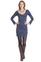 Robe courte Bleue à manches longues Ethnique Graziella 285445
