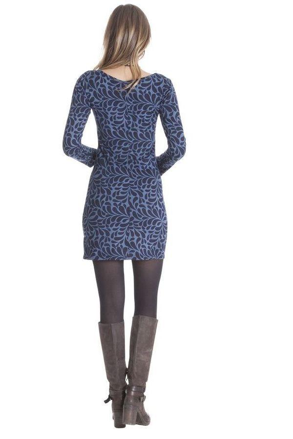 Robe courte Bleue à manches longues Ethnique Graziella 285446
